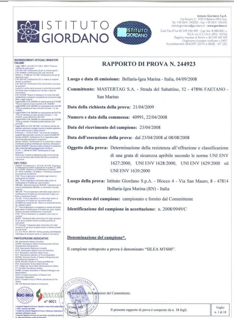 Certificazione Antieffrazione inferriate blindate ENV 1627-I