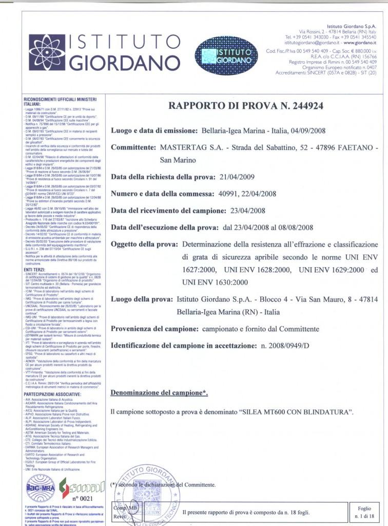 Certificazione antieffrazione ENV 1627-I Classe 3